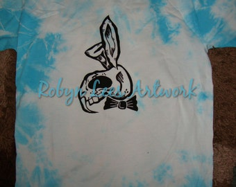 Blue Tie Dye Cotton T-shirt with or without Black Sabre Tooth Rabbit Art Artwork Design