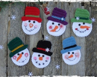 PDF - Pattern, Snowman Christmas Ornaments, Crochet Tutorial, OFG FAAP