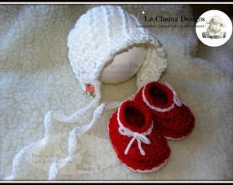 Crochet baby bonnet. Crochet baby booties. Red crochet booties.