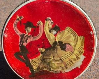 Vintage Tin - Dancing Dolls - Red Vintage Tin by Willow Australia