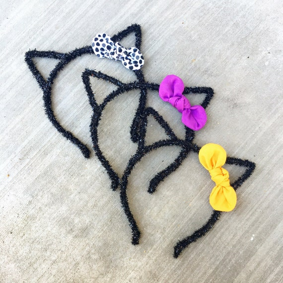 Halloween Cat Ears Headband // black kitty headband with Knotty Gal Bow attached - Choose 1