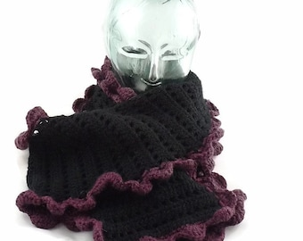 wool scarf, goth scarf, crochet scarf, 100% Arran wool, long scarf, knitted scarf, black and purple, gift for her, boho scarf, winter scarf,