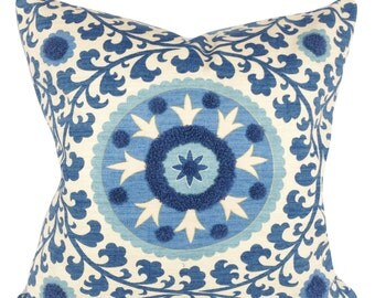 3 Park Tribal Thread Azure Decorative Pillow Cover - Throw Pillow - Accent Pillow - Toss Pillow - Both Sides - ALL SIZES AVAILABLE