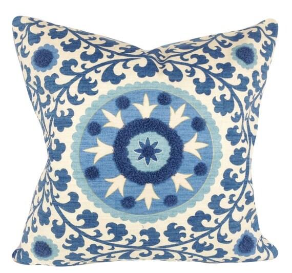 Blue Medallion Throw Pillows : Blue Embroidered Medallion Decorative Pillow Cover Throw