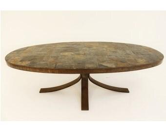 Mid Century Modern Roger Capron Low Coffee Table Slate & Steel Vallauris France