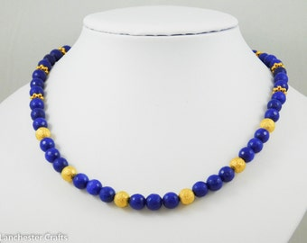 Blue Sapphire Necklace and Matching Earrings, Dark Blue and Gold Birthstone Jewellery, Natural Sapphire Beads