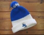 Smurf Pom Pom Beanie. 1980s Knit Hat.  Blue and White Pom Pom Hat for a Guy or Girl.