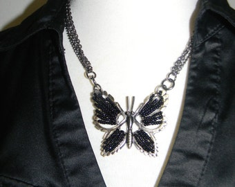 Butterfly necklace with metal chain