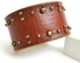 "Gorgeous Salvaged Cognac Studded Leather Cuff with Antiqued Brass Hardware, 8.5"" Inches Long."