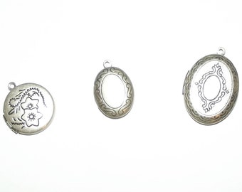 Craft supplies ~ 3 silver oval round locket charms necklace pendant flower lace ~ US seller