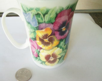 Vintage Roy Kirkham Cup / Fine Bone China Cup / England Cup / Henley Collection / Pansy Cup / Pansy Items / Floral Cup /