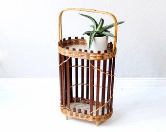 Vintage flower rack, flower table, plant stand, 60s midcentury, basket bamboo rack