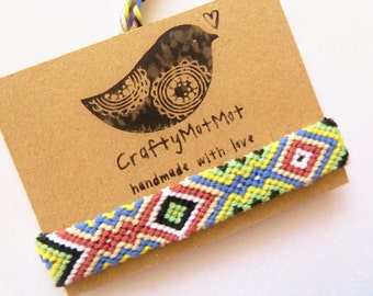 Macrame Bracelet Handmade Bracelet - Friendship Bracelet - Cotton Bracelet - Boho Hippie Colorful Aztec - Wish Bracelet - Friendship Gift