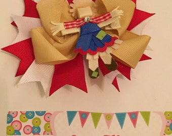 Red, Tan, and White Scarecrow 3-in-1 Ribbon Sculpture Over the Top Hair Bow