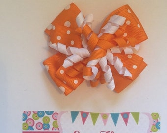 ON SALE Orange and White Halloween Hair Bow