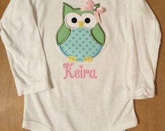ON SALE Pastel Owl Shirt or Baby Bodysuit