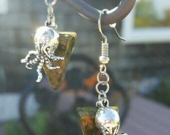Cthulhu/Octopus Unakite handmade earrings metaphysical