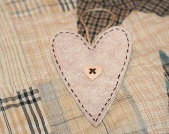 Felt Heart Ornament - Light Brown