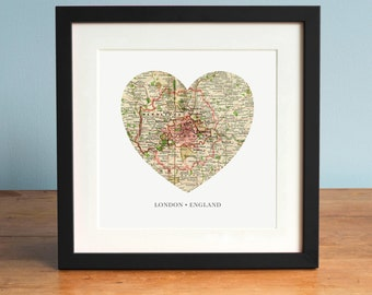 London Heart Map, London Map, England Map Art, Vintage Map, Antique Map Art, Personalized Map Art, Valentines Day, vintage london art