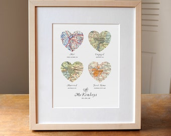 Heart Map, Wedding Gift Art, Custom Heart Map, Anniversary Gift, 4 heart map, Wedding Map Art, Engagement Gift Art