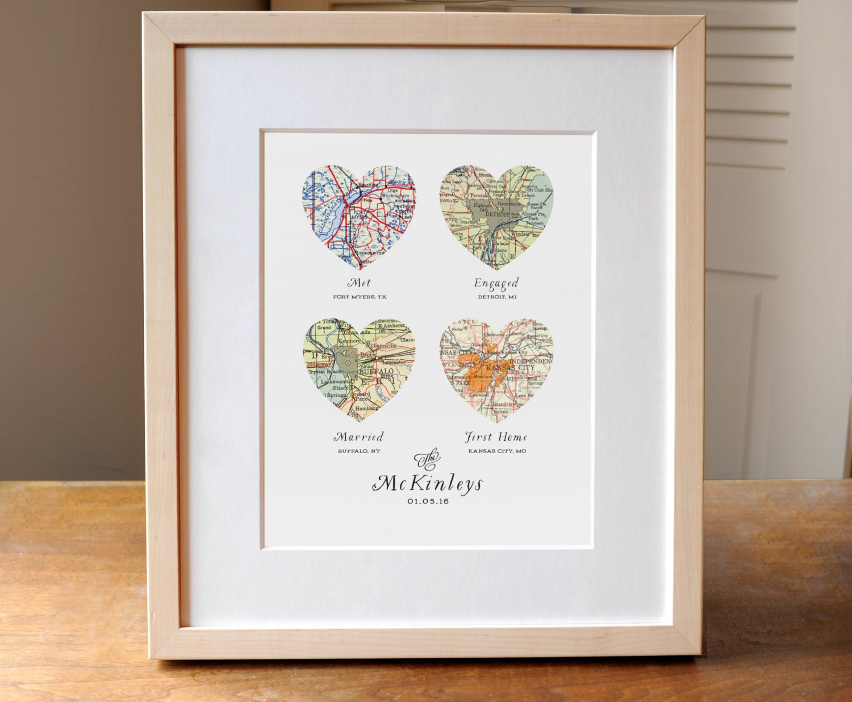 Wedding Engagement Gift: Heart Map Wedding Gift Art Custom Heart Map Anniversary