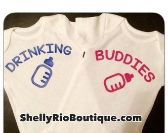Twin Baby Bodysuits,  Drinking Buddies Baby Bodysuit, Twin Baby Shower Gift