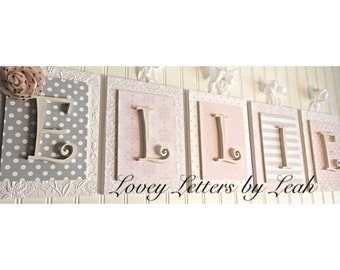 Nursery letters, custom initials, personalized wooden letters, pink and gray nursery decor,custom nursery letters,custom wood letters