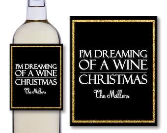 Christmas Wine Bottle Labels - Wine Bottle Labels - Black And Gold - Digital Wine Bottle Labels