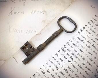 Vintage Brass Decorative Skeleton Key With Dark Patina