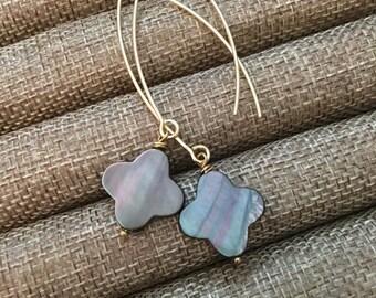 Shimmering Shell Quatrefoil drop earrings