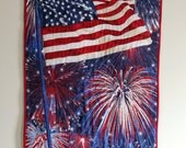 Patriotic Wall Hanging, Fireworks Quilted Patriotic Decor, Veteran Quilt, Small Quilt, Patriotic Holiday Doorhanger, Quiltsy Handmade