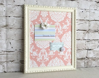 Magnetic board - shabby chic decor - damask fabric - white frame