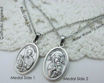 St Gerard Medal Necklace - Stainless Steel Chain - Catholic Saint Pendant Pregnancy Fertility Baby Mother Simple Our Lady of Perpetual Help