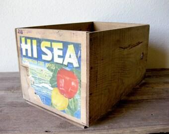 Vintage Hi Sea Apples Wooden Crate ~ Apple Crate ~ Storage Crate