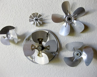 Vintage Fan Blades ~ Salvaged Wall Art ~ Set of 5 Antique Fan Blades ~ Metal Fan Blades ~ Steam Punk ~ Lot of 5