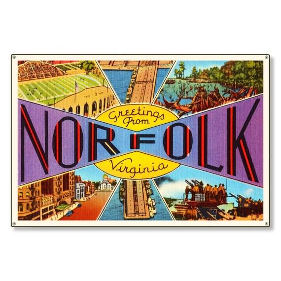 norfolk virginia va retro vintage travel postcard