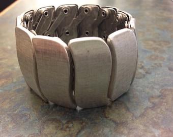 Vintage Coro Stretch Bracelet Silvertone Chunky Wide!