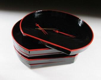 Set of Five Faux Lacquerware Plates