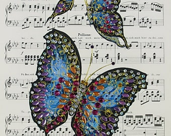 Original  Painting, Watercolor, Handpainted on the old music notes paper, butterflies, 7,8 x11,8 inch. NOT a print. Tatiana-Art