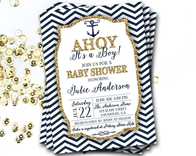 Nautical Baby Shower Invitation, Navy And Gold Nautical Invitation, Preppy Baby Shower Invitation, Glitter Invitation, DIY Printable