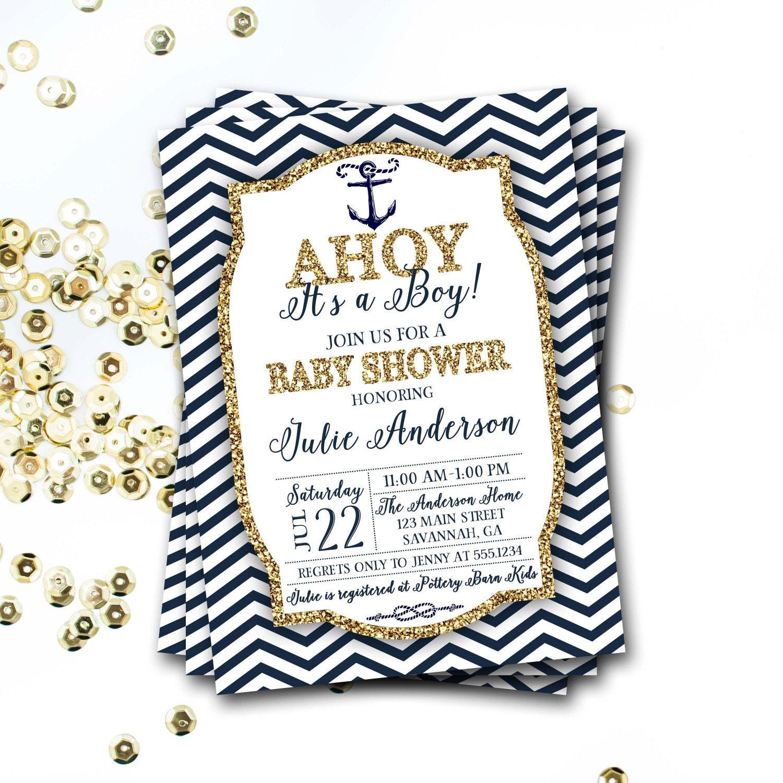 Nautical Baby Shower Invitation Navy And Gold Nautical Invitation