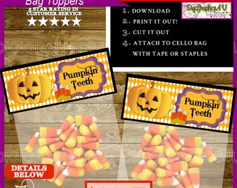 Halloween Pumpkin Teeth Sandwich Bag Toppers for Parties and/or Trick or Treat Handouts - Instant Download