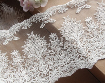 "2 Yards Fabulous Ivory Tulle Venice lace Cotton Floral Embroidery Lace Trim 5.11"" Width"