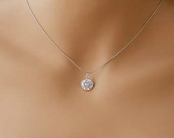 Single diamond necklace one stone necklace diamond pendant necklace single gem necklace diamond solitaire necklace cubic zirconia necklace