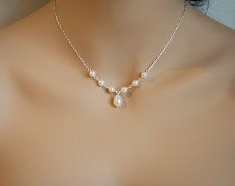 Pearl bridal necklace single teardrop necklace pearl bridal jewelry teardrop pearl necklace mother of the bride necklace bridesmaid necklace