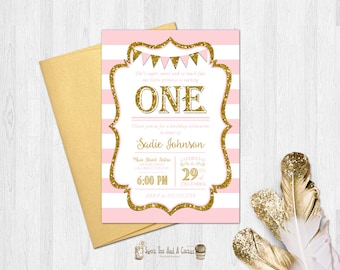 Pink and Gold First Birthday Invitation Glitter Girls Babies Kids Party Invites Elegant Stripe Digital File or Prints with Free Shipping