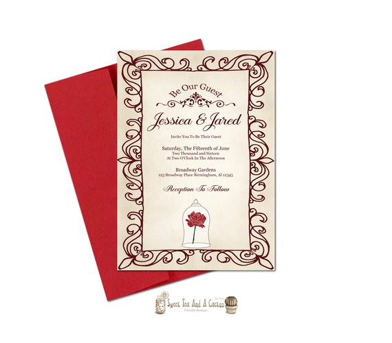 beauty and the beast wedding invitation printable be our guest,