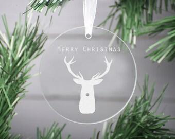 Merry Christmas Decoration Ornament, Glass Christmas Decoration, First Christmas Personalized Glass Decor