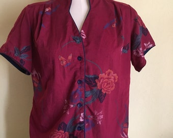 Birds, butterflies and roses shirt