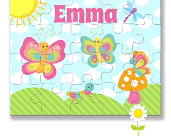 Name Puzzle for Kids - Personalized Butterfly Puzzle - Custom Name Jigsaw Puzzle - Birthday Gift for Girls - Stocking Stuffer
